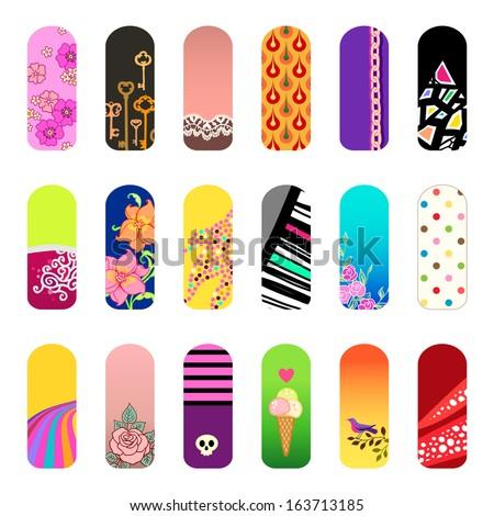 Set of nail art designs for beauty salon - stock vector