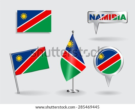 Set of Namibian pin, icon and map pointer flags. Vector illustration. - stock vector