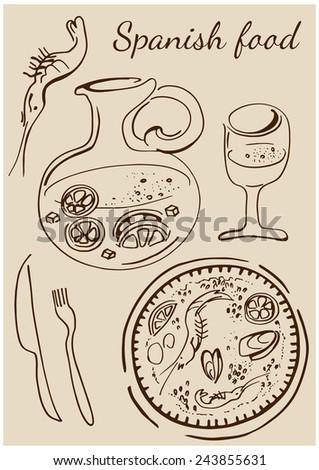 Set of national Spainish dishes. Paella, sangria, wine, shrimp. - stock vector