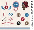 Set of native American tribal inspired designs and icons - stock vector