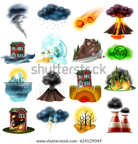 Set of natural disasters including flood earthquake drought wildfire tsunami radiation hail environment pollution isolated vector illustration