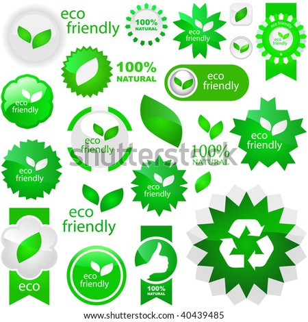 Set of natural labels. Great collection. - stock vector