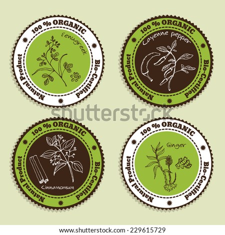 Set of Natural Organic Product badges. Collection of Ayurvedic Herbs. Natural Supplements. Fenugreek, Ginger, Cayenne pepper, Cinnamomum