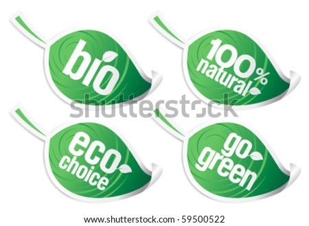 Set of natural product stickers in the form of leaves. - stock vector
