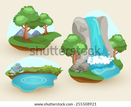 Set of natural scene - stock vector