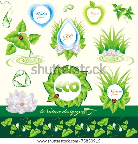 Set of nature design elements. Vector Illustration - stock vector