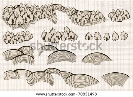 Set of nature elements: hills and trees - stock vector