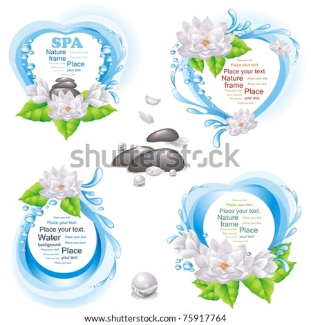 Set of nature frames and SPA design elements. (vector illustration) - stock vector