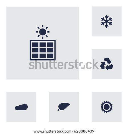 Set Of 6 Nature Icons Set.Collection Of Overcast, Solar Panel, Foliage And Other Elements.
