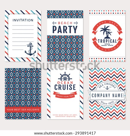 Set nautical marine banners flyers card stock vector 293891417 set of nautical and marine banners and flyers card templates in white blue and pronofoot35fo Choice Image