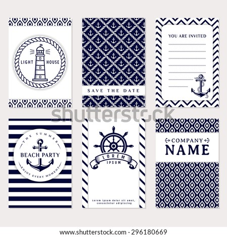 Set of nautical and marine banners and flyers. Elegant card templates in white and navy blue colors. Sea theme. Vector collection. - stock vector