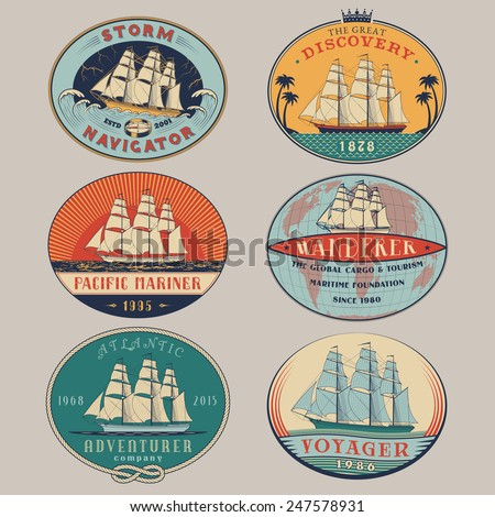Set of nautical and maritime adventure vector color labels.Logotype templates and badges with ships,waves and design elements.Ocean and sea exploration,marine tourism and cargo transportation symbols - stock vector