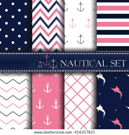 Set of nautical backgrounds. Sea. marine theme. Vector seamless patterns collection.