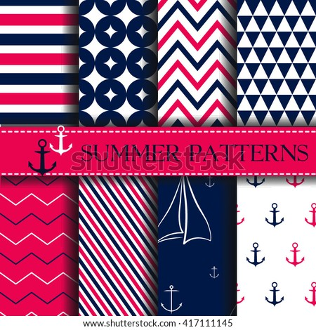 Set of nautical backgrounds. Sea. marine theme. Vector seamless patterns collection. - stock vector