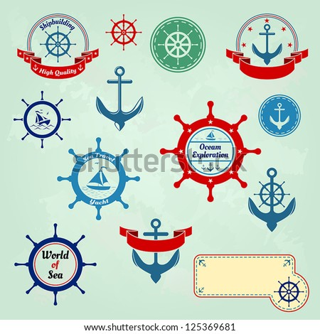Set of nautical badges and labels logo - stock vector