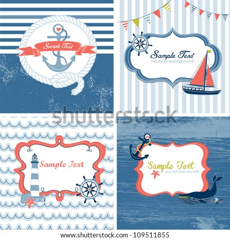 Set of 4 Nautical cards - stock vector