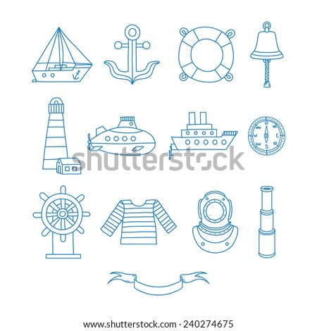 Set of nautical design elements in doodle style - stock vector