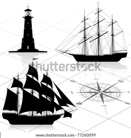 Set of nautical design elements.  Vector illustration. All images could be easy modified. - stock vector