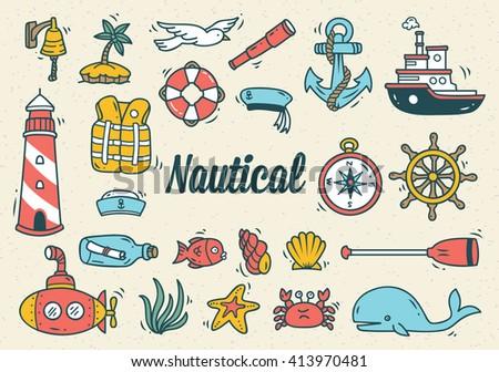 Set of nautical doodle - stock vector