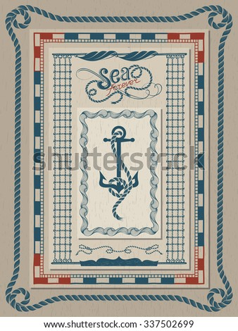 set of nautical frames stylized as ropes waves and vessel navigation - Nautical Frames