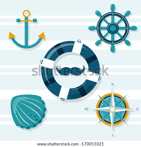 Set of 5 nautical illustrations: anchor, helm, lifebuoy,shell,wind rose - stock vector