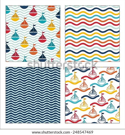 Set Of 4 Nautical Patterns - stock vector