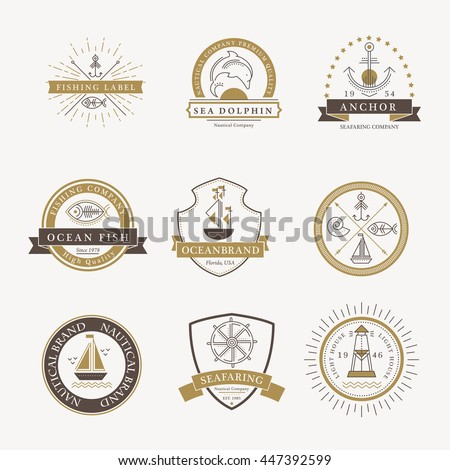 Set of nautical seafaring badges, labels or logos. Creative thin line design. Elegant gold and dark brown vector company brand with sample text - stock vector