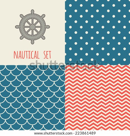 Set of nautical seamless patterns. Icon of wheel. Blue, cream, red colors. For cards, scrapbooks, invitations, printing on fabric etc. - stock vector