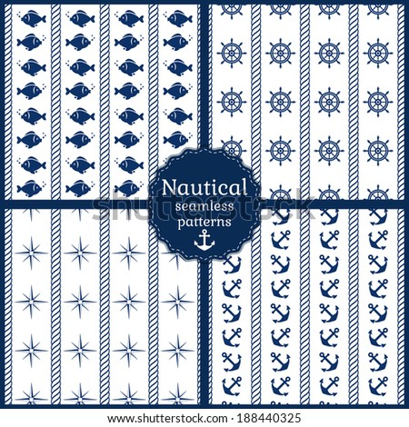 Set of 4 nautical seamless patterns in navy blue and white colors. Vector illustration. - stock vector