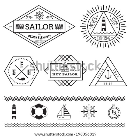 Set of nautical vintage badges and labels and design elements - stock vector