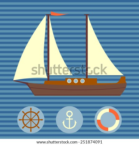 Set of naval objects. Vector. - stock vector