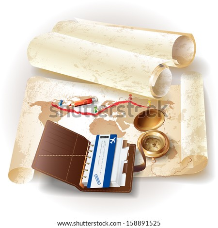 Set of navigation tools and flight ticket, isolated on grunge background with a map - stock vector