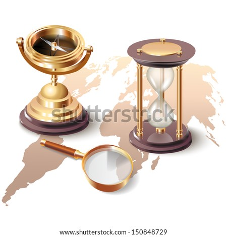 Set of navigation tools, isolated on white background - stock vector