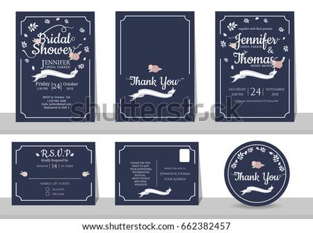 Set navy blue wedding invitation card stock vector 662382457 set navy blue wedding invitation card stock vector 662382457 shutterstock stopboris Images