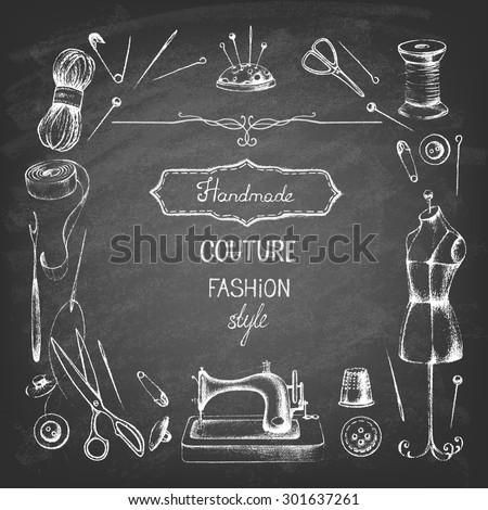 Set of needlework - scissors, measuring tape, mannequin, sewing on the chalkboard . Retro vintage style. Vector illustration. - stock vector