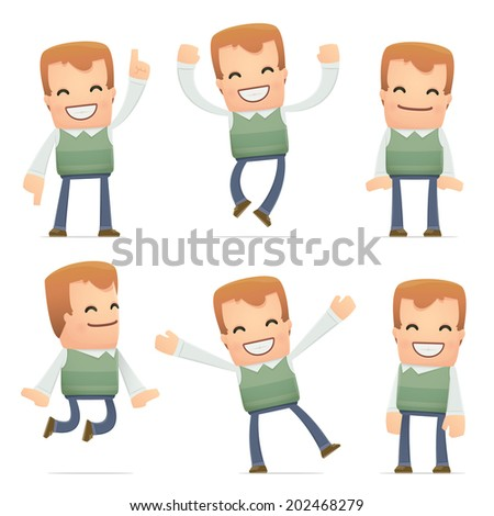 set of neighbor character in different interactive  poses - stock vector