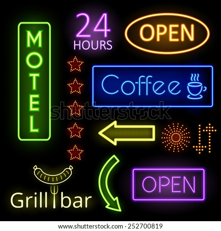 Set of neon glow signs. Coffee, open and motel. Signboard, pointer. Vector illustration - stock vector