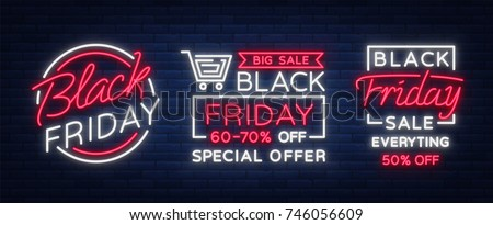 Set of neon signs, posters, brochures on the Black Friday sale. Glowing neon sign, bright glowing advertising, discounts on sales Black Friday. Vector illustration