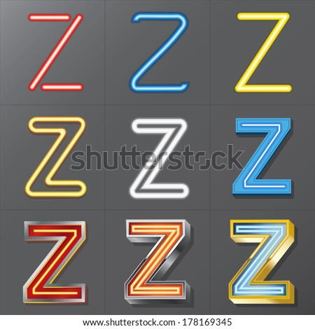 Set of Neon Style Alphabet Z, Eps 10 Vector, Editable for Any Background, No Clipping Masks - stock vector