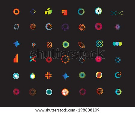 set of new business or company icons on a black background - stock vector