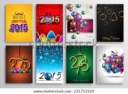 Set of 2015 New Year and Happy Christmas background for your flyers, invitation, party posters, greetings card, brochure cover or generic banners. - stock vector