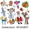 set of new-year child`s pictures - stock vector