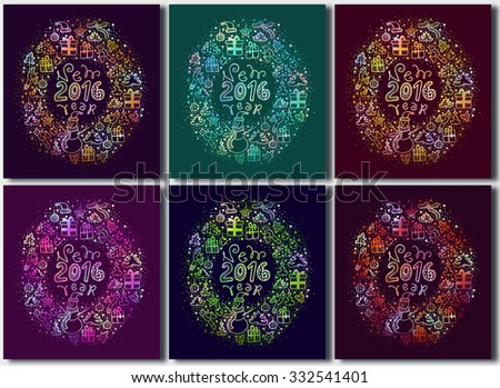 Set of: New Year 2015 - 2016. Christmas greeting card or design. Vector circular wreath. Pattern with New Year celebration Icons and Christmas symbols. Christmas elements. - stock vector
