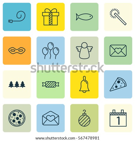 Set 16 new year icons includes stock vector 567478981 shutterstock set of 16 new year icons includes sweet greeting email pizza meal and m4hsunfo