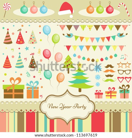 Set of New Year Party Elements - stock vector