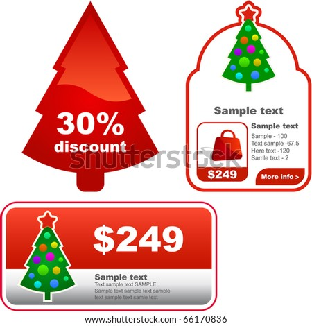 Set of New Year's banners for advertising - stock vector