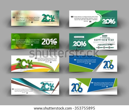 Set of New year website header and banner - stock vector