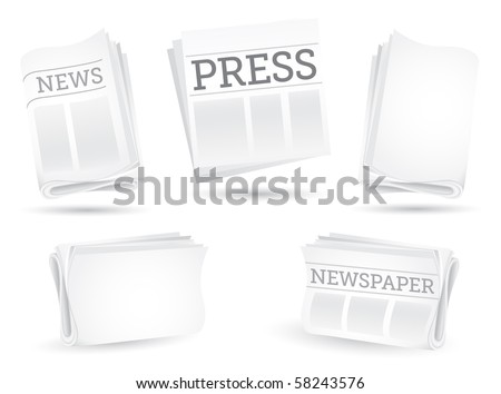 Set of newspapers isolated on the white background - stock vector