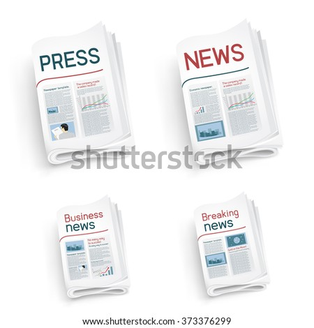 Set of newspapers on white background. News of the politics government economic business sport entertainment - stock vector