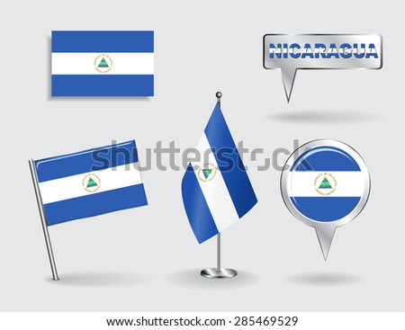 Set of Nicaraguan pin, icon and map pointer flags. Vector illustration. - stock vector